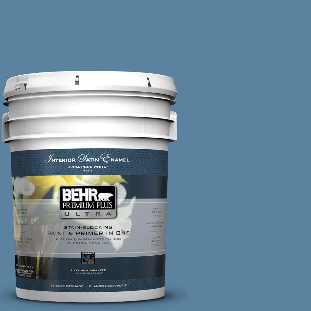 5-gal. #BIC-38 Honest Blue Satin Enamel Interior Paint
