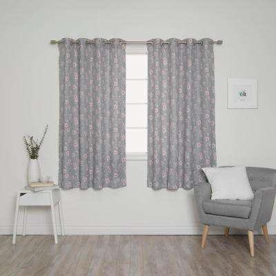 Hibiscus Blossom 52 in. W x 63 in. L Curtains in Grey (2-Pack)
