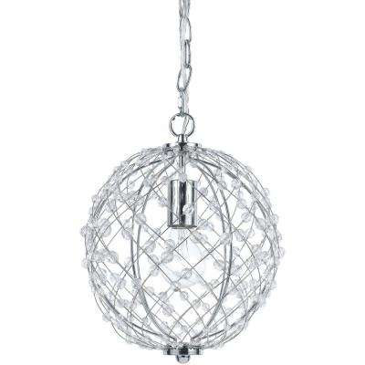 Silver Web 1-Light Polished Chrome Pendant with Plastic Bead Accents