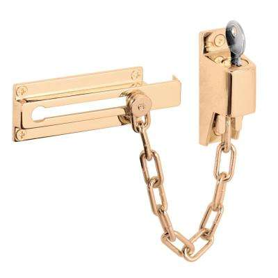 Steel Bright Brass Keyed Chain Door Guard