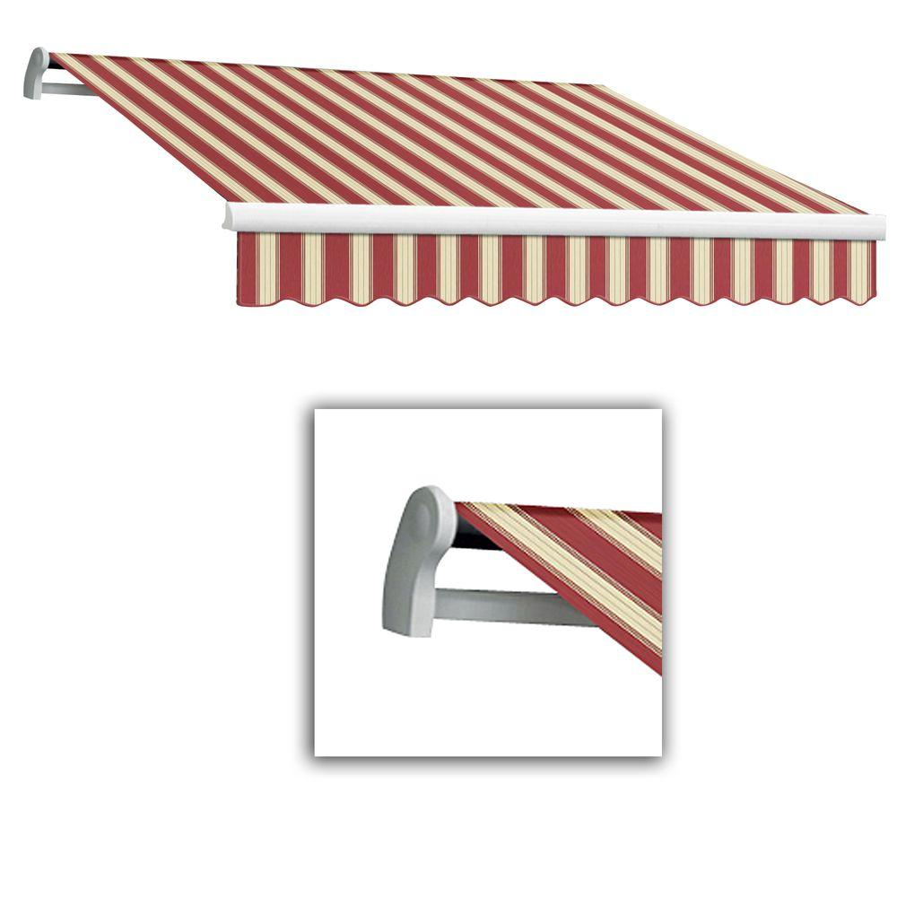 AWNTECH 8 ft. Maui-LX Left Motor Retractable Acrylic Awning with Remote (84 in. Projection) in Burgundy/White Multi