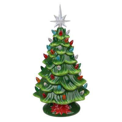 13 in. LED Lighted Retro Table Top Christmas Tree with Star Topper
