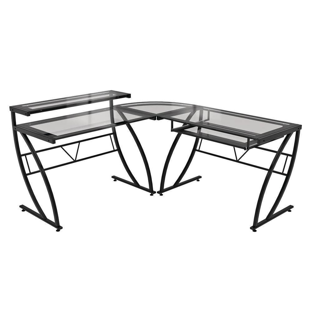 Black Feliz Glass L-Shaped Desk