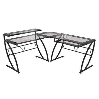 Black Feliz Glass L-Shaped Desk