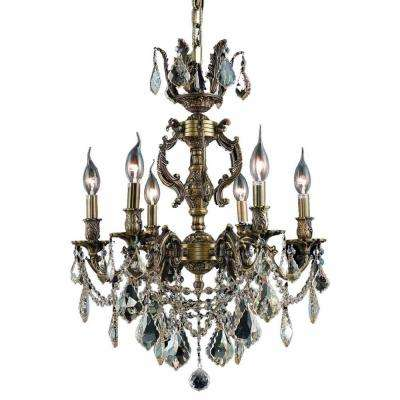 6-Light Antique Bronze Chandelier with Crystal (Clear) Crystal