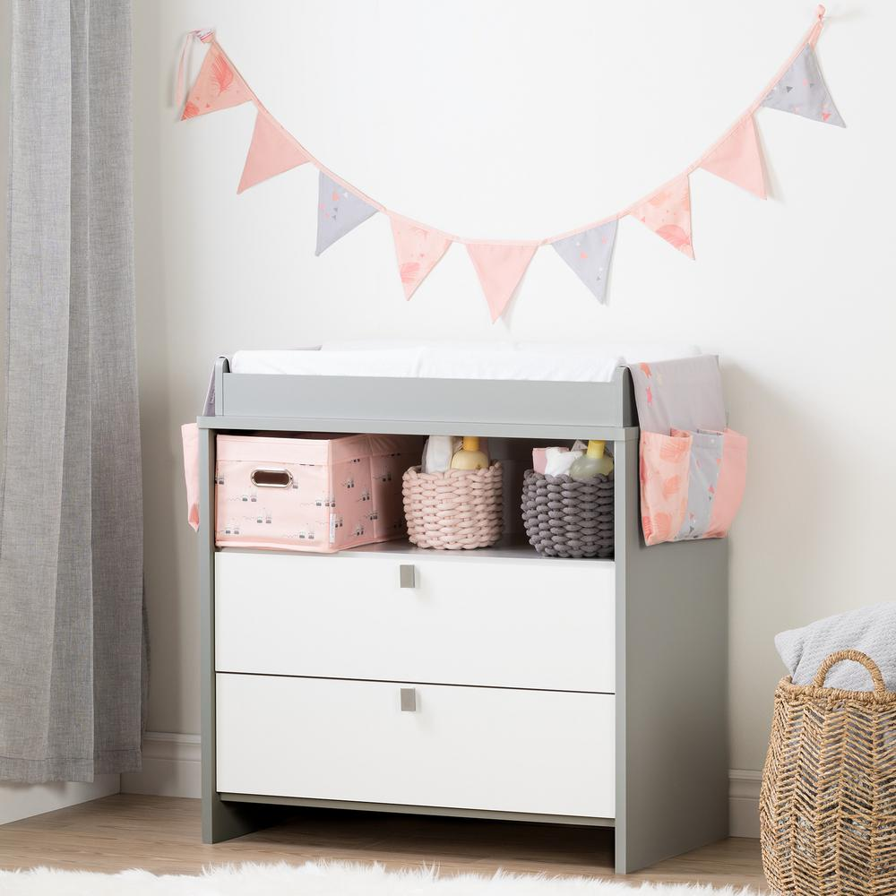 Exceptionnel South Shore Cookie Soft Gray And Pink Changing Table With Doudou The Rabbit  Runner And Pennant