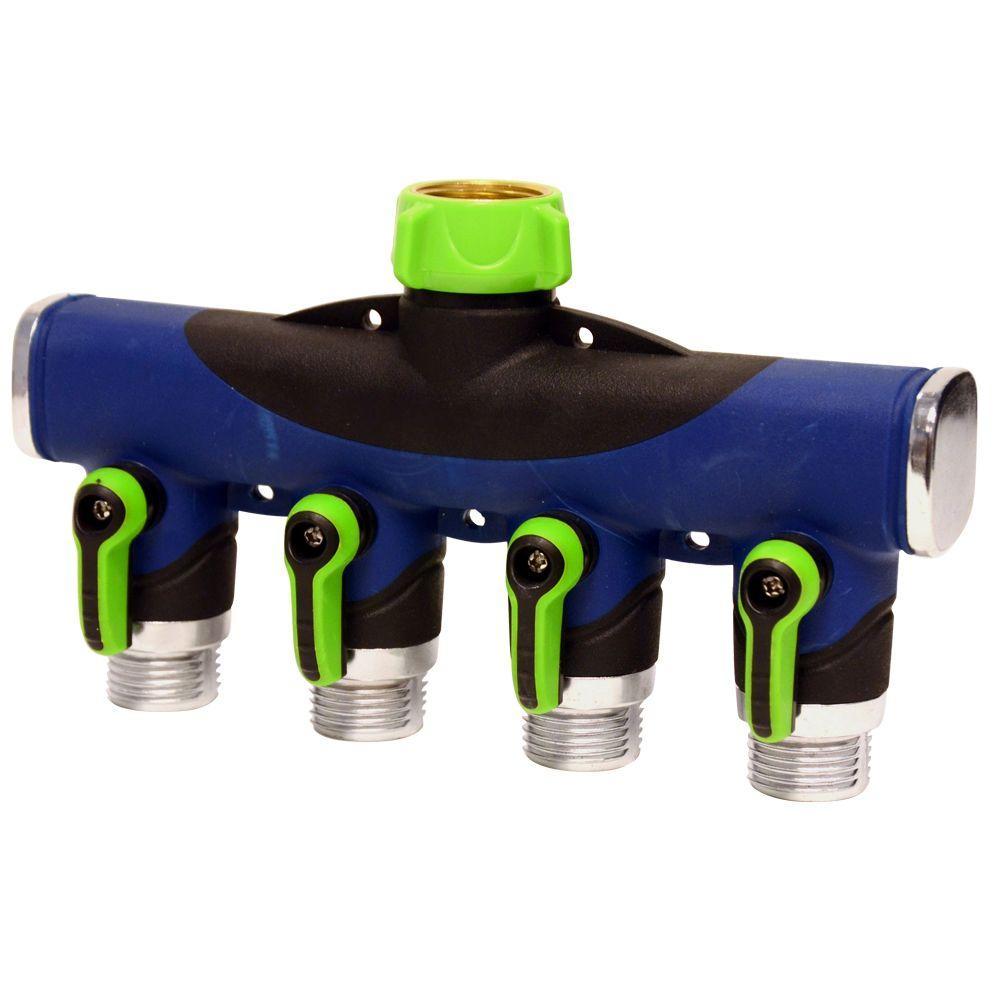 Deluxe 4-Way Hose Manifold Faucet Splitter