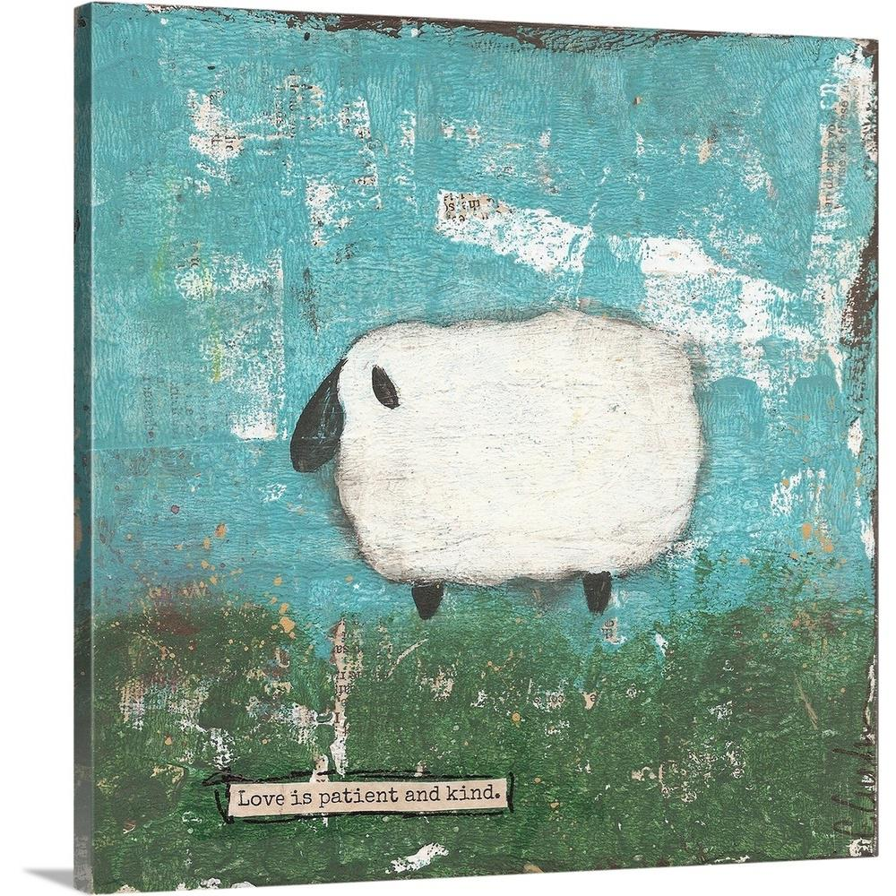 Greatbigcanvas Faith Sheep By Cassandra Cushman Canvas Wall Art