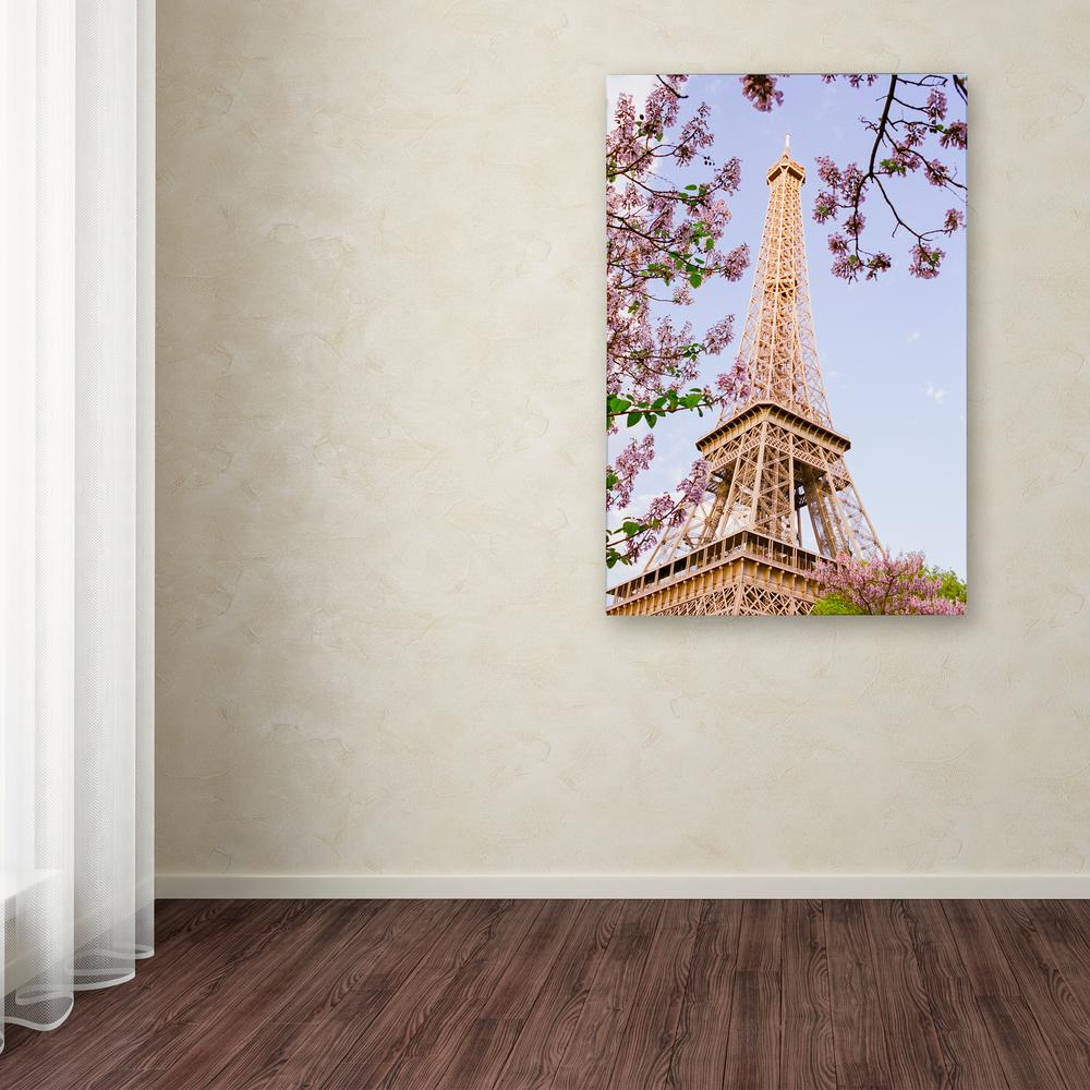 Trademark fine art 32 in x 22 in eiffel tower in spring by eiffel tower in spring by ariane moshayedi printed canvas wall art am0271 the home depot jeuxipadfo Images
