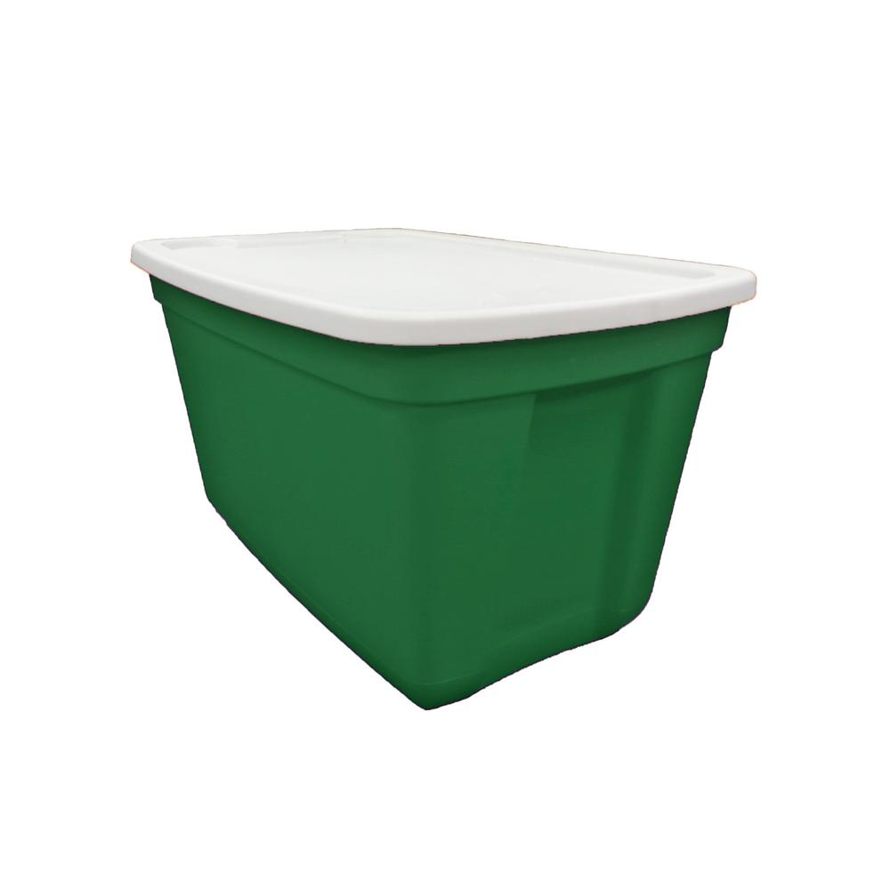 20 Gal. Storage Tote Light Green Base-White Lid