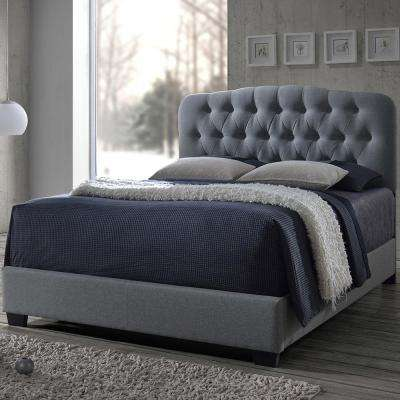 Romeo Transitional Gray Fabric Upholstered Queen Size Bed