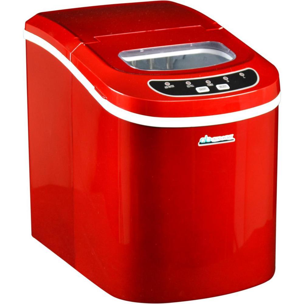 Avalon Bay 26 lb. Freestanding Ice Maker in Red