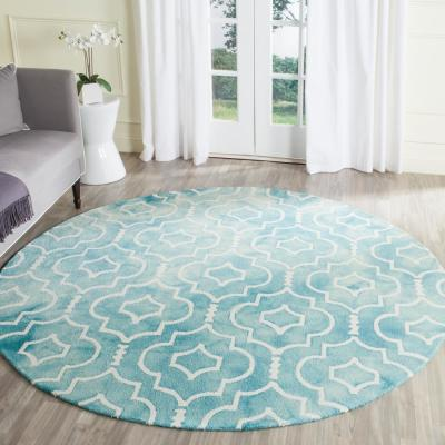 Dip Dye Turquoise/Ivory 7 ft. x 7 ft. Round Area Rug