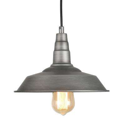 1-Light Silver Steel Barn Light Warehouse Pendant