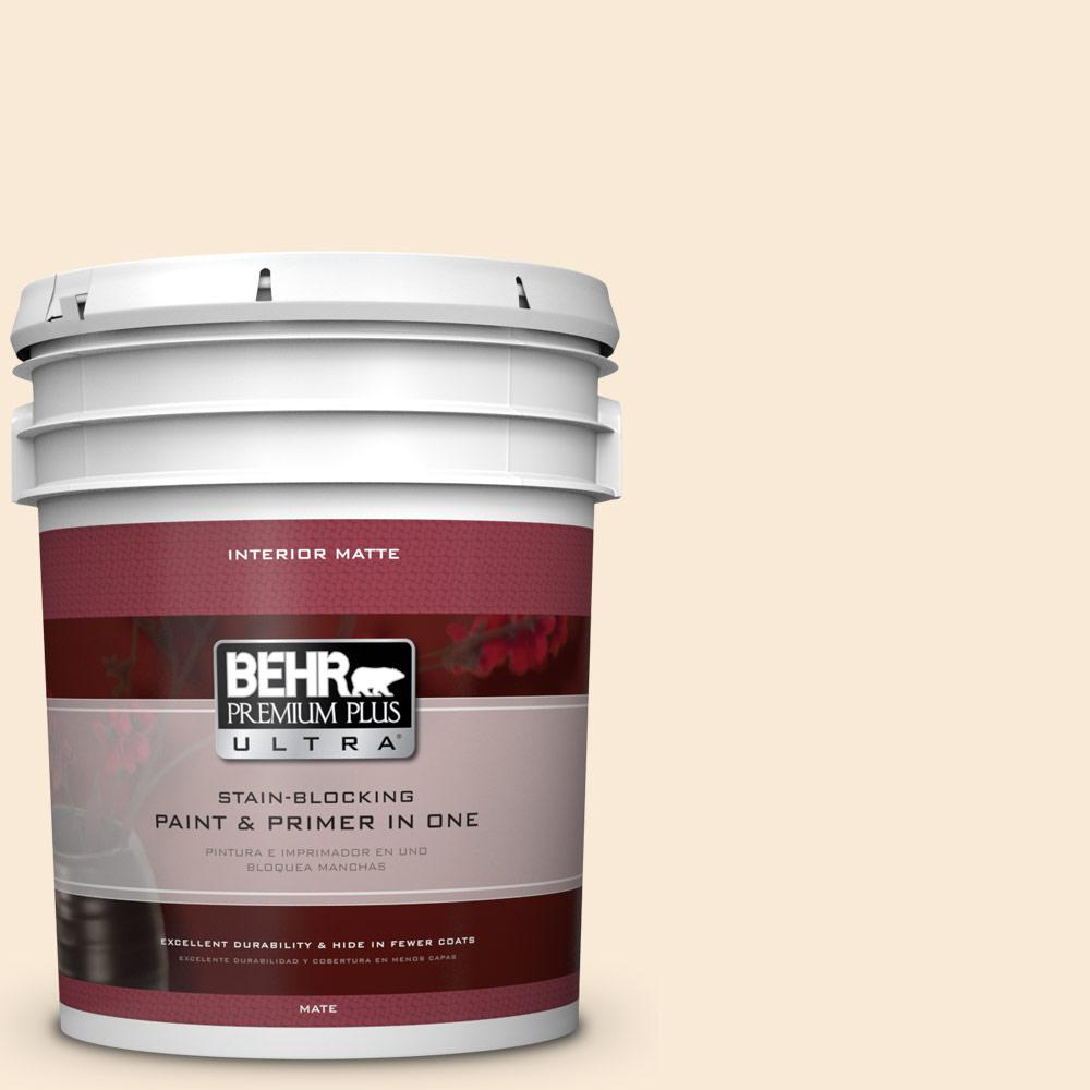 BEHR Premium Plus Ultra 5 gal. #300C-1 Princess Ivory Flat/Matte Interior Paint