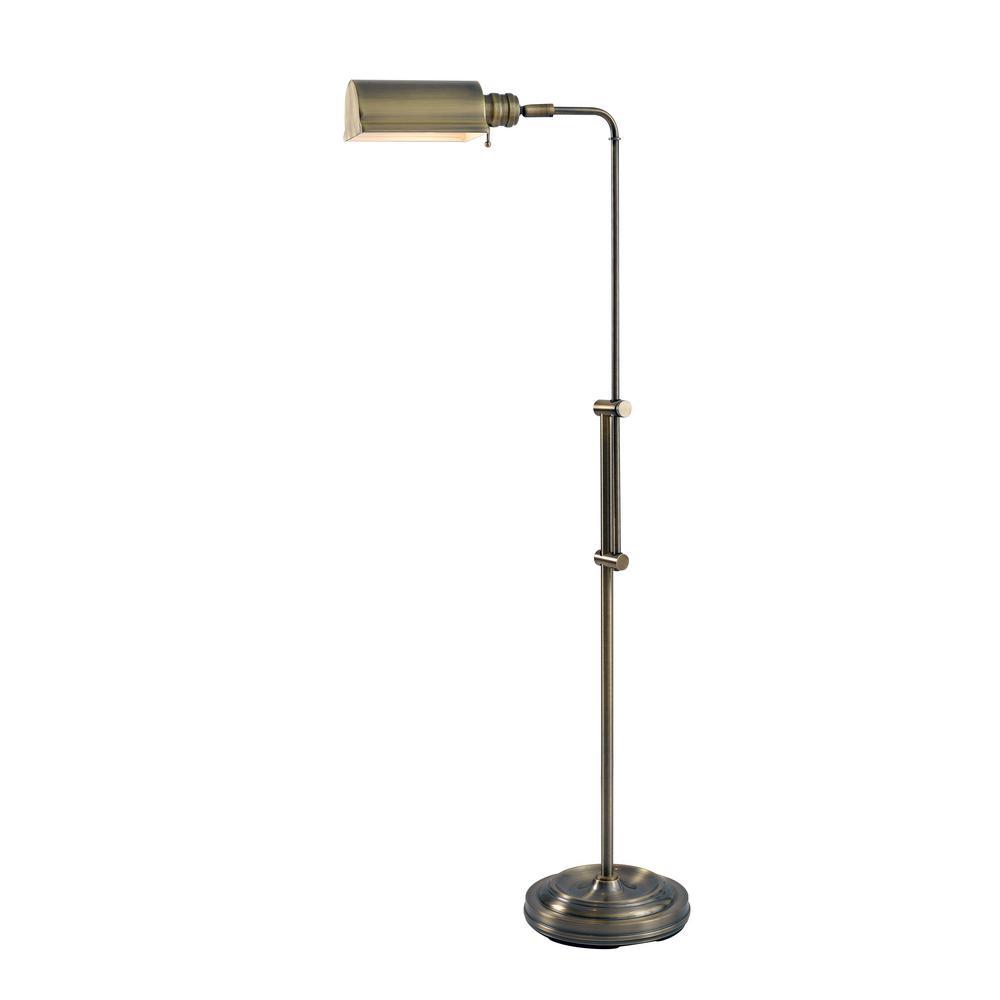 Denton 50 in. Antique Brass Floor Lamp with Adjustable Height