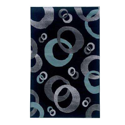 Milan Collection Black And Turquoise 8 Ft. X 10 Ft. Indoor Area Rug