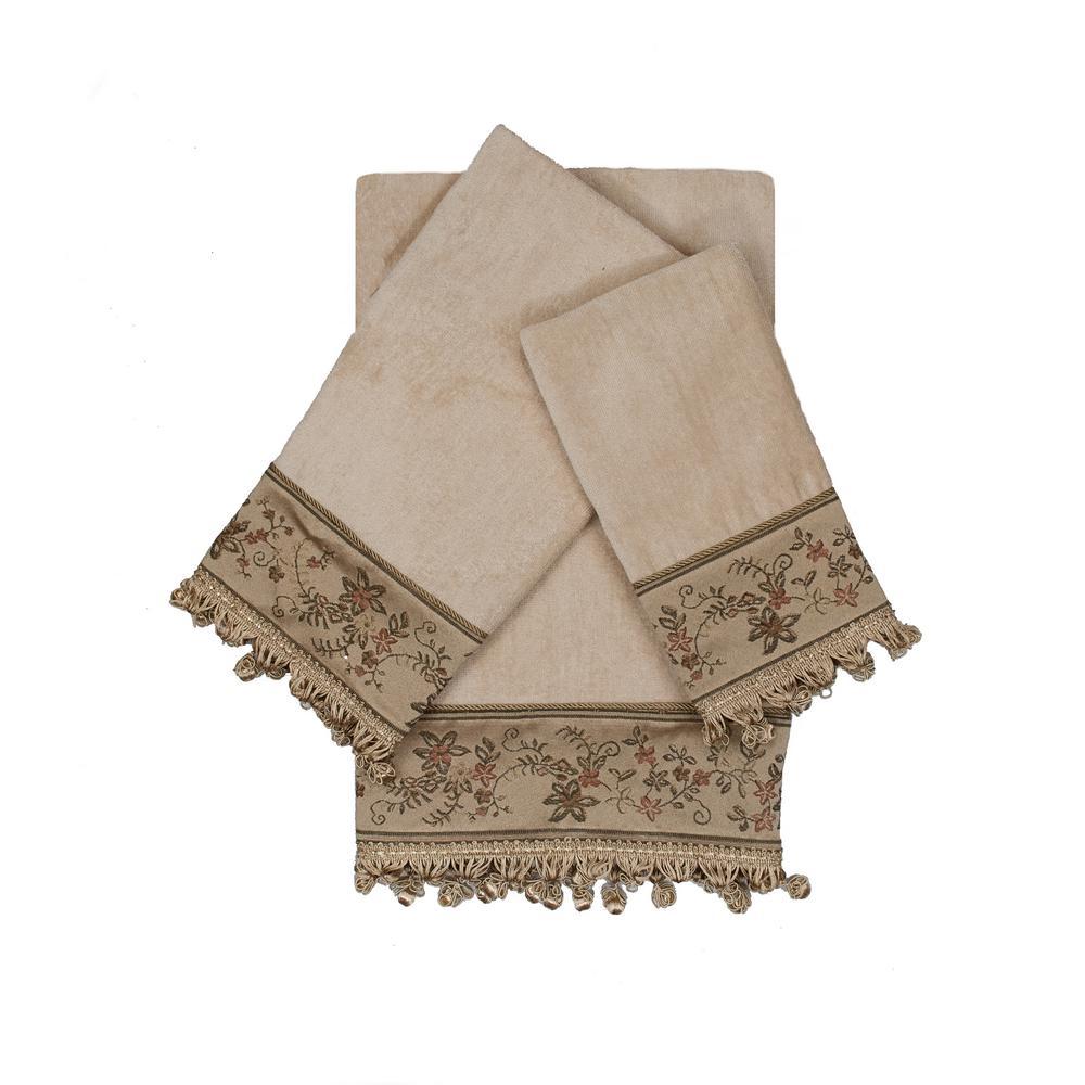 Rosemead Taupe Decorative Embellished Towel Set (3-Piece)