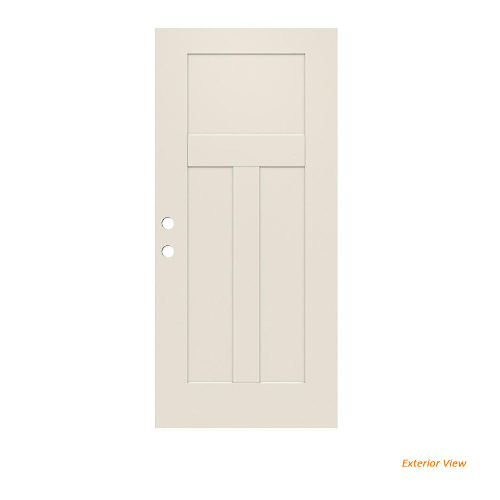32 in. x 79 in. 3-Panel Craftsman Primed Steel Front Door