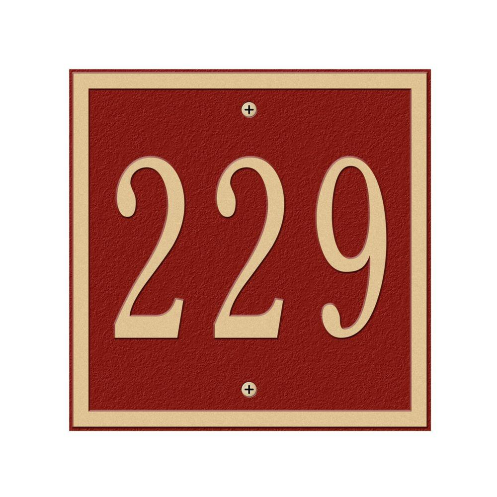 Whitehall Products Square Petite Wall 1-Line Address Plaque - Red/Gold