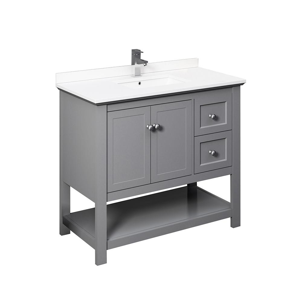 Fresca Manchester 40 in. W Bathroom Vanity in Gray with Quartz