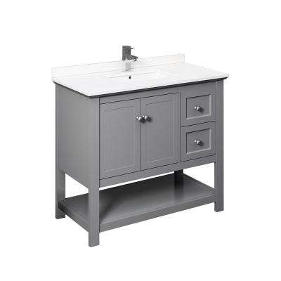 Manchester 40 in. W Bathroom Vanity in Gray with Ceramic Vanity Top in White with White Basin
