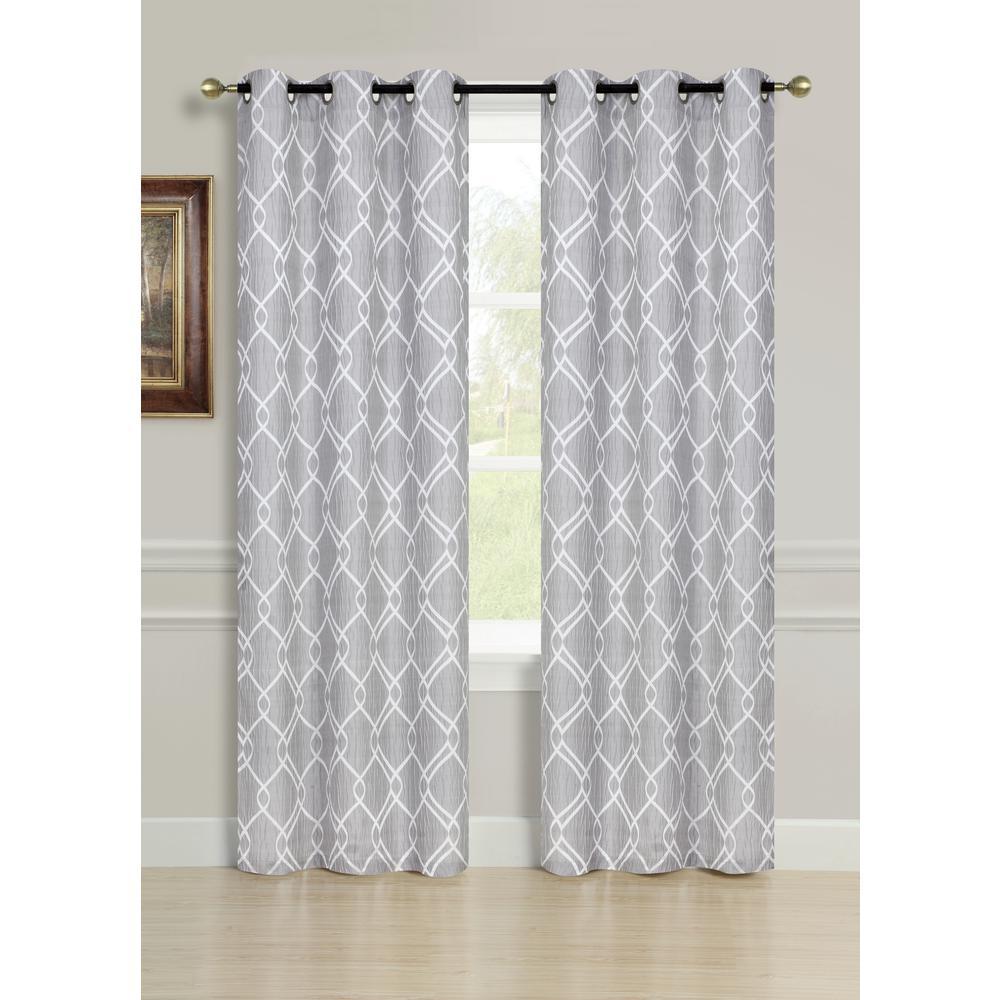 84 inch Avante Grommet Curtain Panel Pair in Silver (2-Pack) by