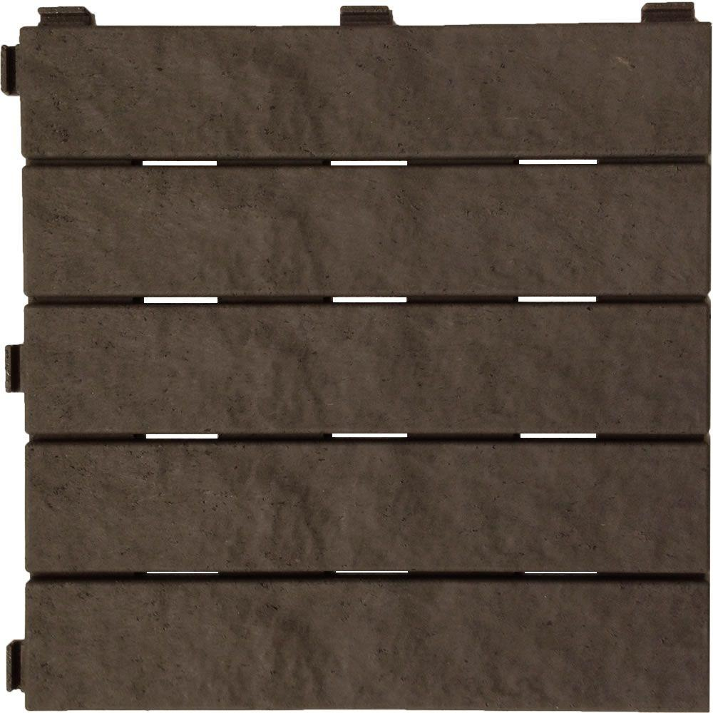 Multy Home 12 in. x 12 in. Earth Rubber Deck Tile (6-Pack)