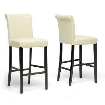 Bianca Cream Faux Leather Upholstered 2-Piece Bar Stool Set