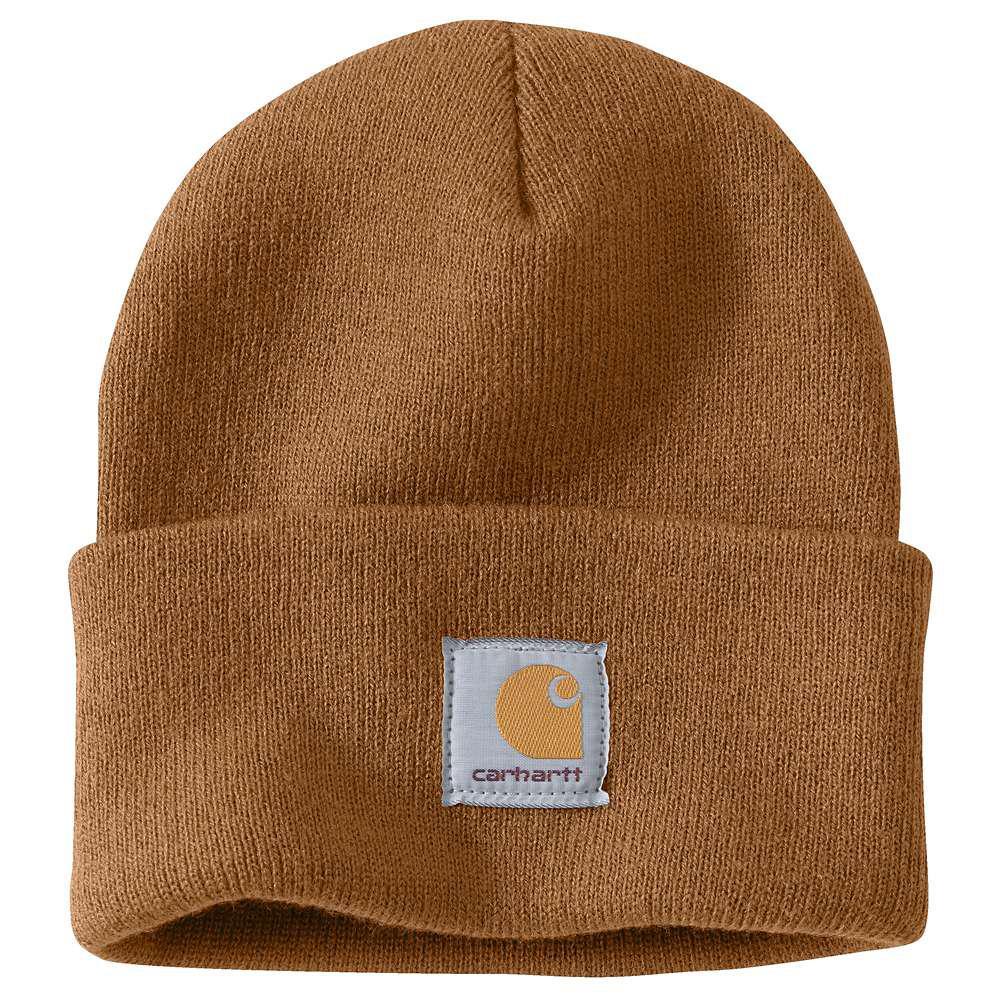 6d345f056c7 Carhartt Men s OFA Brown Acrylic Hat Headwear-A18-BRN - The Home Depot