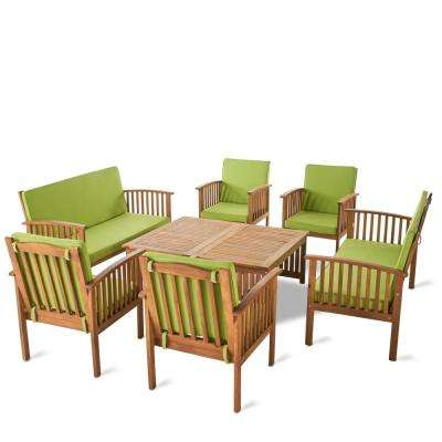 Thalia Brown 8-Piece Wood Patio Conversation Set with Light Green Cushions