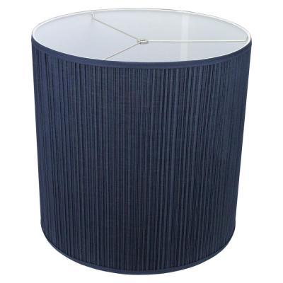 Fenchel Shades 18 in. Top Diameter x 18 in. Bottom Diameter x 18 in. Height Drum Lamp Shade - Pleated Mushroom Navy Blue