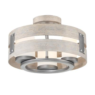 3-Light Grey Clear Glass Semi-Flush Mount and Pendant