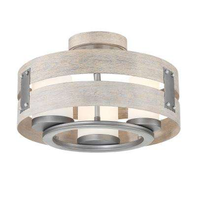 3 Light Grey Clear Gl Semi Flush Mount And Pendant