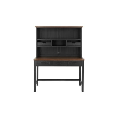 48 in. Rectangular Black/Walnut 5 Drawer Writing Desk with Solid Wood Material