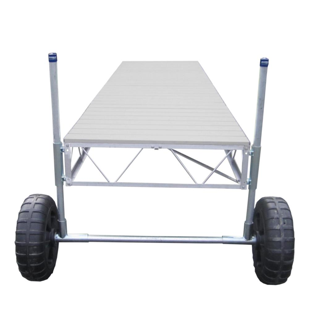 Patriot Docks 24 Ft Straight Roll In Dock With Gray Aluminum Decking