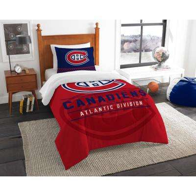 Canadiens Draft 2-Piece Multi-Color Polyester Twin Comforter Set