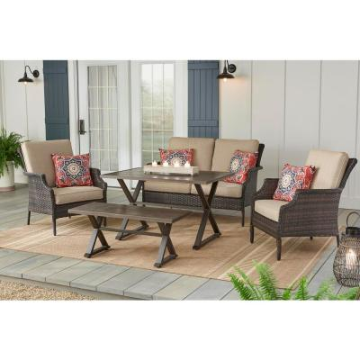 Hampton Bay Grayson Brown 5 Piece Wicker Patio Conversation Set With Toffee Cushions