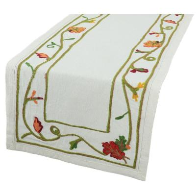 16 in. x 36 in. Harvest Vine Crewel Embroidered Harvest Table Runner
