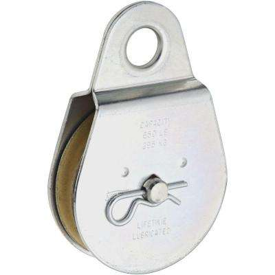 3 in. Zinc-Plated Fixed Single Pulley