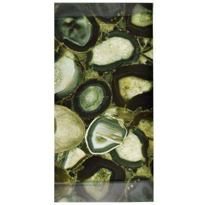 Fossil Panorama Geode Verde 11-3/4 in. x 23-3/4 in. Glass Wall Tile
