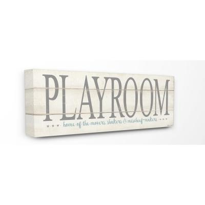 """10 in. x 24 in. """"Playroom Home Of Mischief Makers"""" by Stephanie Workman Marrott Printed Canvas Wall Art"""