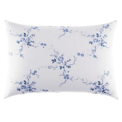Charlotte Blue/White Floral Cotton Blend 14 in. x 20 in. Throw Pillow