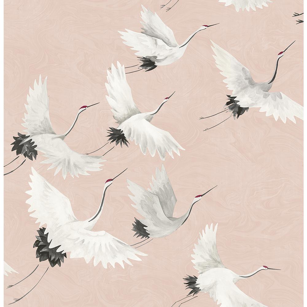 8 in. x 10 in. Windsong Pink Crane Wallpaper Sample