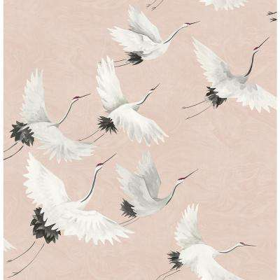 8 in. x 10 in. Windsong Pink Crane Wallpaper Sample