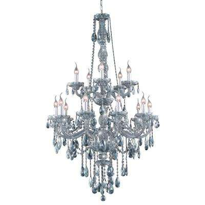 15-Light Silver Shade Chandelier with Grey Crystal