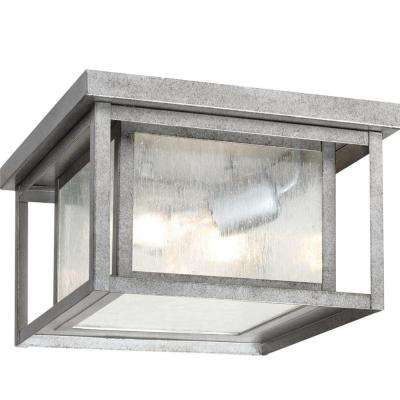 Hunnington 2-Light Outdoor Weathered Pewter Hanging/Ceiling Pendant Fixture