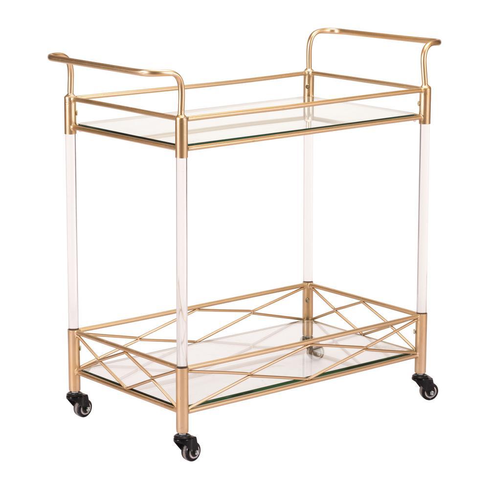 Lucite Gold Bar Cart