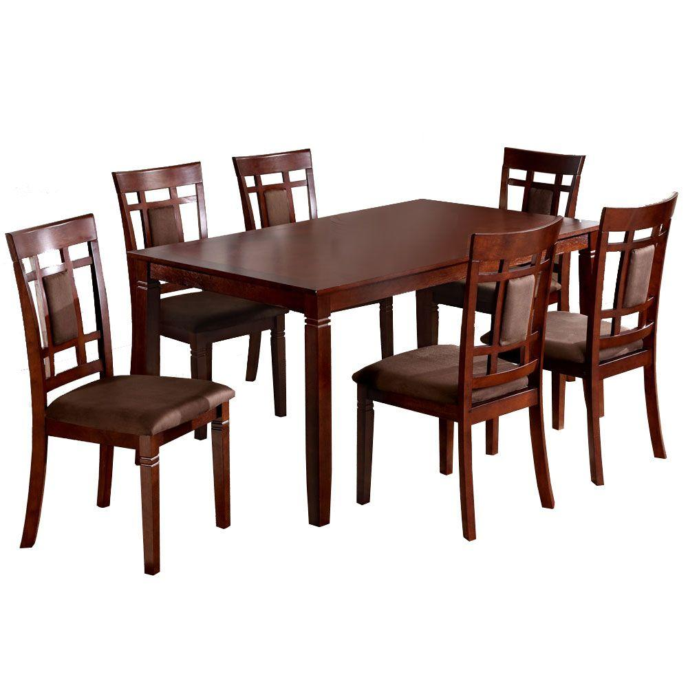 Venetian Worldwide Montclair 7 Piece Dark Walnut Dining Set
