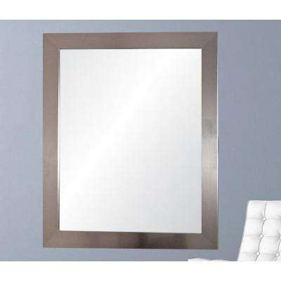 Current Trend 32 in. x 38 in. x 5 in. Silver Solitaire Vanity Wall Framed Mirror
